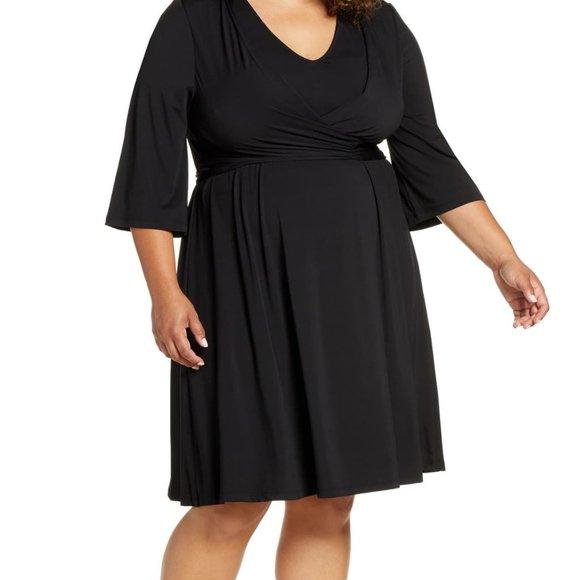 Eloquii Tie Front Knit Dress in Black NWT 16W